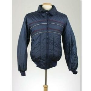 Vintage 80s Ski Moves Navy Puffy Ski Coat L Puffer